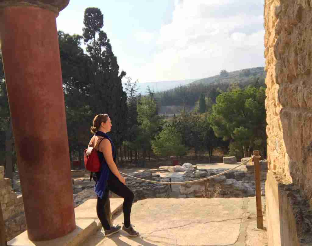 Solo female traveler at the Minoan palace of Knossos in Crete, Greece