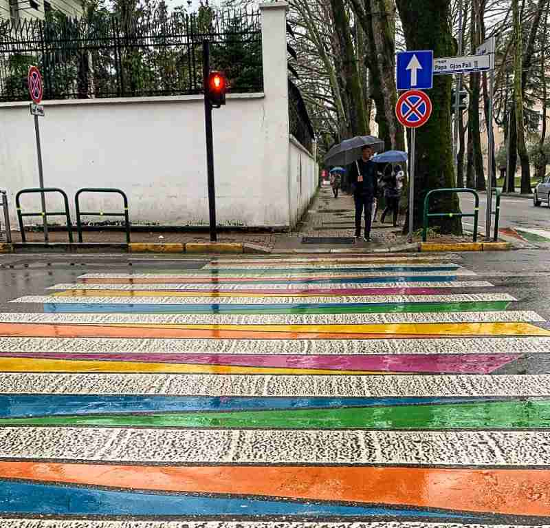 A colorful street crossing in the digital nomad hub of Blloku in Tirana, Albania.