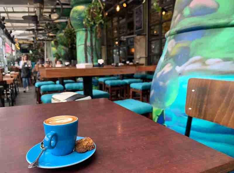 A macchiato coffee at City Art cafe in Tirana Albania.